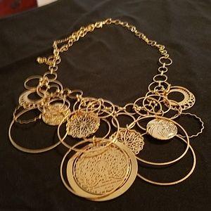 Beautiful boho gold statement necklace.